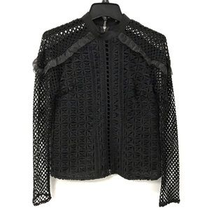 ina fishnet mesh lace blouse top black high collar